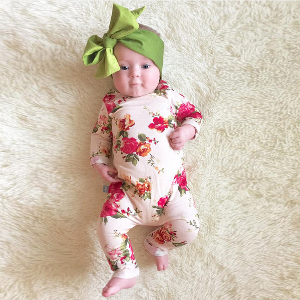 Newborn Baby Girls Clothes Lovely Floral Print Cotton Baby Romper Jumpsuit Spring Summer Infant Outfits for 0-24M High Quality 3pcs set newborn infant baby boy girl clothes 2017 summer short sleeve leopard floral romper bodysuit headband shoes outfits