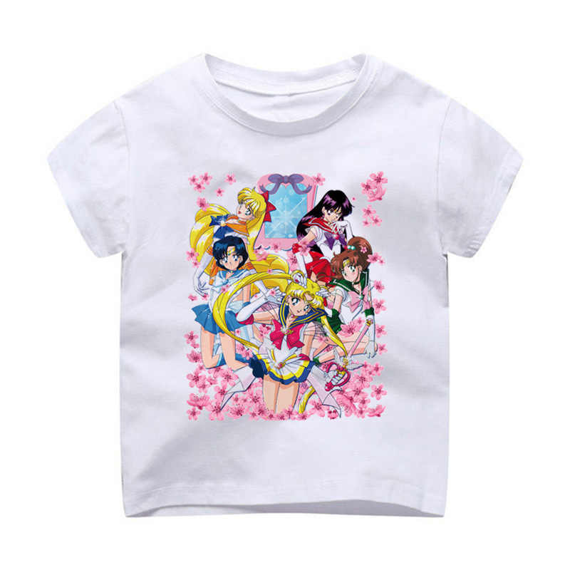 T-Shirt Children Modal Printing Kids Clothes Short Sleeves t shirt tshirt Sailor Moon Super Inner Senshi short novelty h