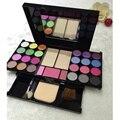 Pro 35 cores Shimmer Da Sombra de Olho conjunto de pincel de pó Mineral blush palette Cosméticos Lip gloss Muito da sombra de maquiagem kit de ferramentas
