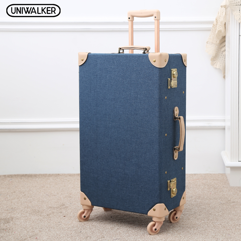 UNIWALKER Fashion Vintage Travel Suitcase Trolley Travel Bags Retro Travel Trolley Luggage Suitcase Bags With Universal Wheels 12 20 22 24 26 gray retro trolley suitcase bags 2pcs set vintage travel trolley luggage with spinner wheels with tsa lock