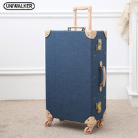 UNIWALKER Fashion Vintage Travel Suitcase Trolley Travel Bags Retro Travel Trolley Luggage Suitcase Bags With Universal Wheels
