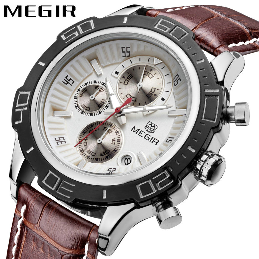 MEGIR Military Fashion Men Quartz Wrist Watches 3 Time Zone Super Arabic Number Case Genuine Leather Pilot Watches Date Display цена 2017