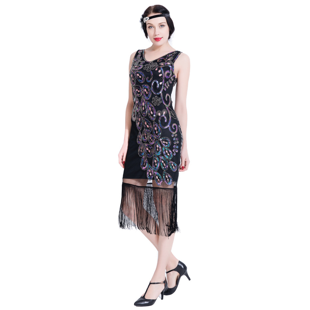 Women 1920s Vintage Flapper Dress V Neck Sleeveless Cocktail Party Dress Fringed Sequined Great Gatsby Dress for 20s Prom Party