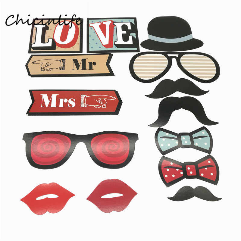 Chicinlife 14pcs/lot Mr MRS Lip On A Stick Photo Props Wedding Birthday Party Decoration