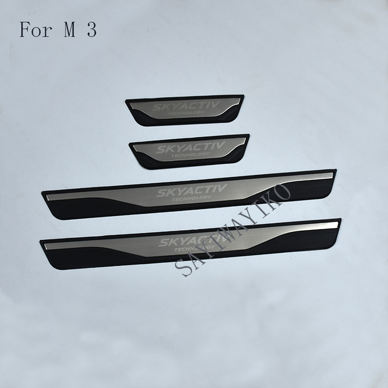 Car Styling stainless steel door sill Scuff Plate Welcome Pedal FIT For Mazda3 Mazda 3 axela 2014 2015 2017 2018  AccessoriesCar Styling stainless steel door sill Scuff Plate Welcome Pedal FIT For Mazda3 Mazda 3 axela 2014 2015 2017 2018  Accessories