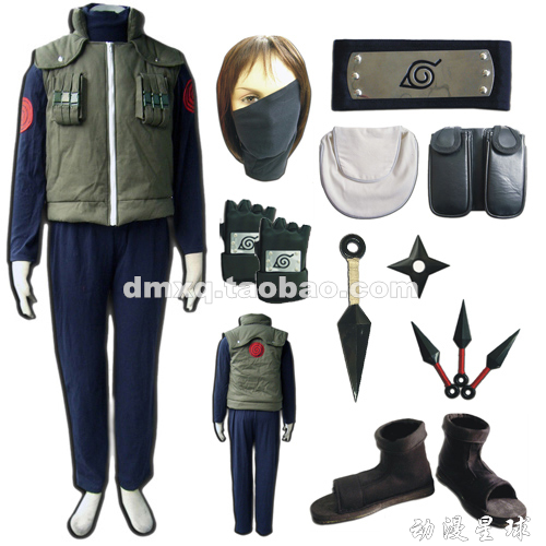 Christmas costume Naruto Hatake Kakashi cosplay costume full set include kunai shoes headband gloves leg waist bag mask