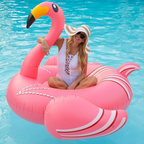 190CM Giant Flamingo Inflatable Water Party Toys For Adults And Children  Pink Ride On Pool