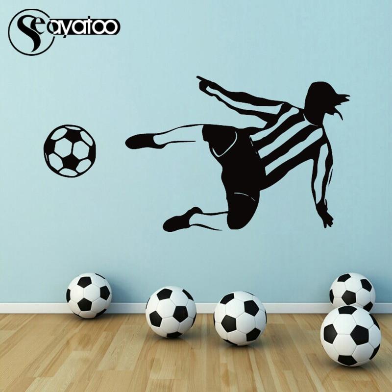 Football Player Goalkeeper Kicking Soccer Vinyl Wall Sticker Decal Sport Bedroom 58x114cm