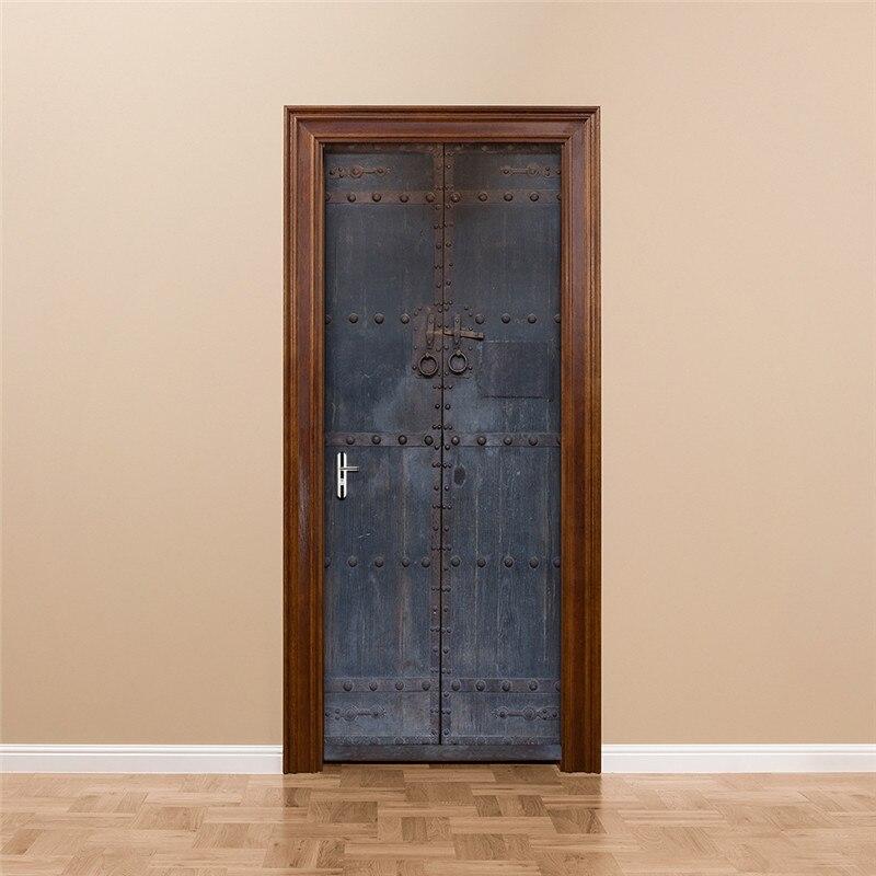 Image 5 - Старые эффекты железная дверь спальня самоклеющиеся 3D наклейки на стену 38,5x200 см дверь Гостиная Декор наклейки украшение дома-in Настенные наклейки from Дом и животные