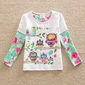 Banderas nueva Venta Al Por Mayor 2016 Muchachas Cabritos de la camiseta ropa de Manga Larga camiseta chica de moda Diseño niños ropa Carácter G605