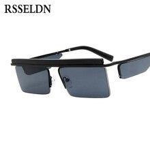 RSSELDN Novo Retângulo Óculos De Sol Dos Homens Retro Quadrado 2019 Metade  Armação de Metal Vermelho Preto Moda Óculos De Sol Da. 2bbb5173d8