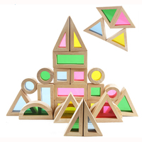 24PCS Baby toy Creative Acrylic Rainbow Educational Tower Pile of Building Blocks Diy Wooden learning Assemblage Geometric toys