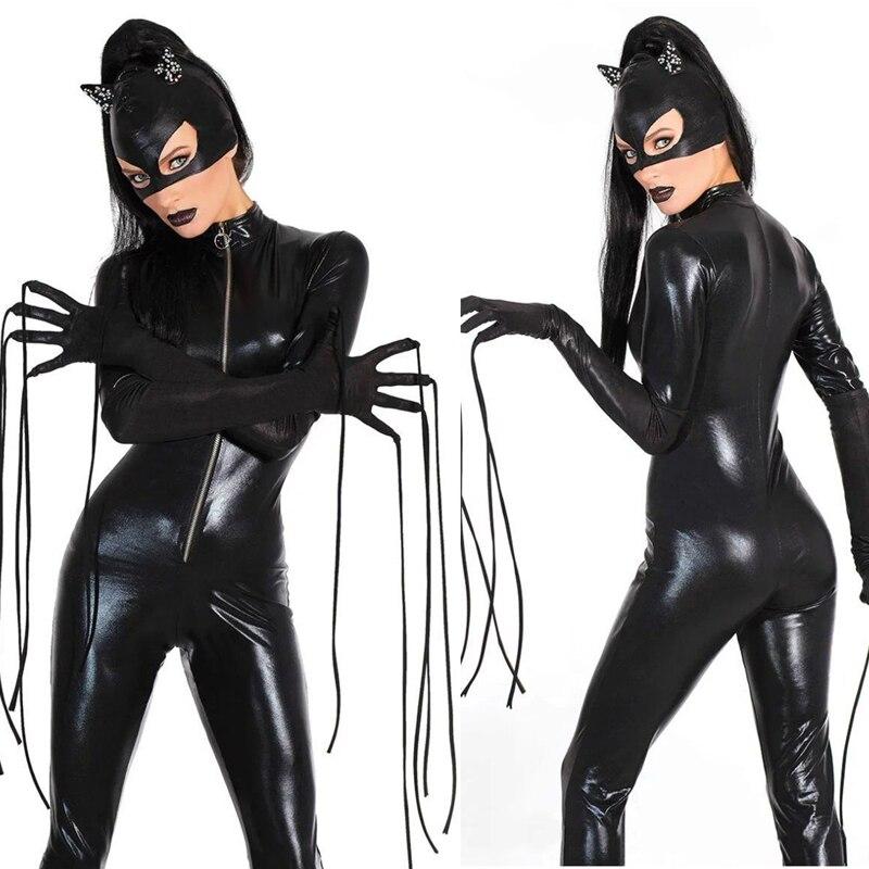 Slim Party Cosplay Catwoman Nachtclub Kostuum Props Halloween Vrouwelijke Super Elastische Jumpsuit Prestaties Zwarte Slijtage + Hoed Vrouwen Kleding
