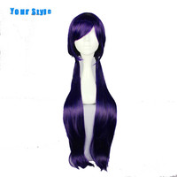 Your Style Long Dark Purple Straight Ponytail Party Lolita Cosplay Full Wigs Anime For Women Synthetic