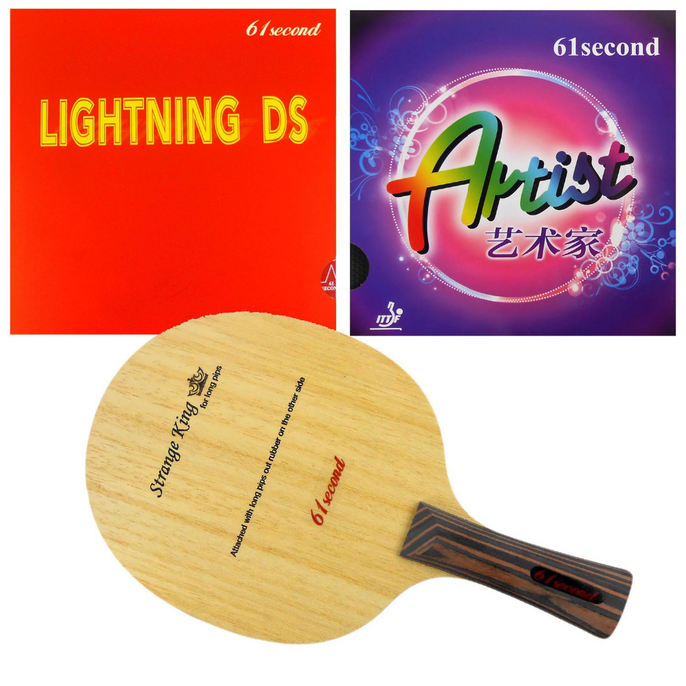 Pro Table Tennis PingPong Combo Racket 61second Strange King Shakehand with Lightning DS NON-TACKY and ARTIST Long shakehand FL