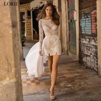LORIE 2019 Beach Wedding dress White Ivory Long Sleeve Lace Appliques Bridal Gowns Boho Detachable Train Bride dress