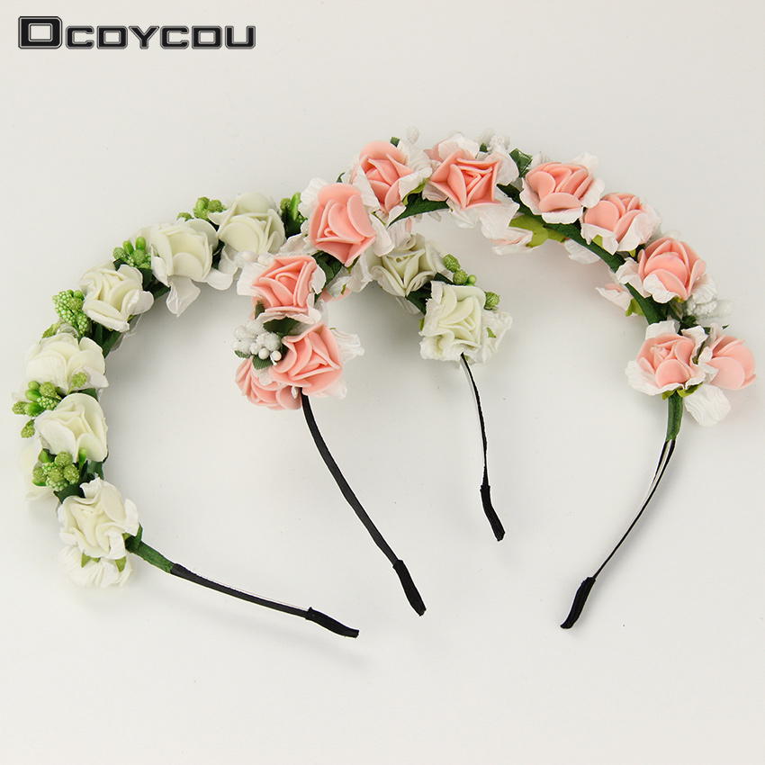 1 pcs Fashion Hot Sale Garland Floral Bridal Headband Wedding Headwear Flower Headband Hair Accessories Gift metting joura vintage bohemian green mixed color flower satin cross ethnic fabric elastic turban headband hair accessories