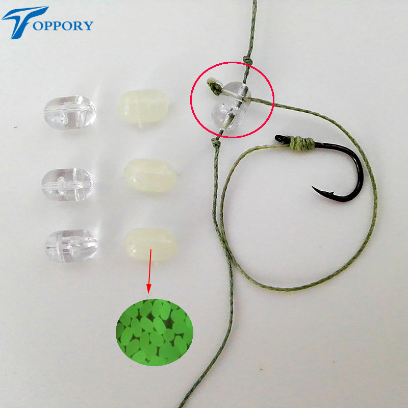 все цены на Toppory 50PCS 100PCS/Lot Fishing Oval Cross Hole Beads Luminous Transparent  Sabiki Rig DIY Jumper Link Beads 3 Ways Connectors онлайн