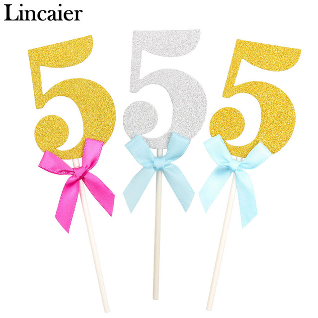 Lincaier 6Pcs 5 Year 5th Birthday Cake Cupcake Toppers I AM Five Fifth Boy Girl Party Decorations Anniversary Paper Gold