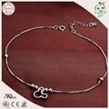 Popular Simple Delicate Design 925 Real Silver Box Anklet Chain With Cartoon Mickey Pendant