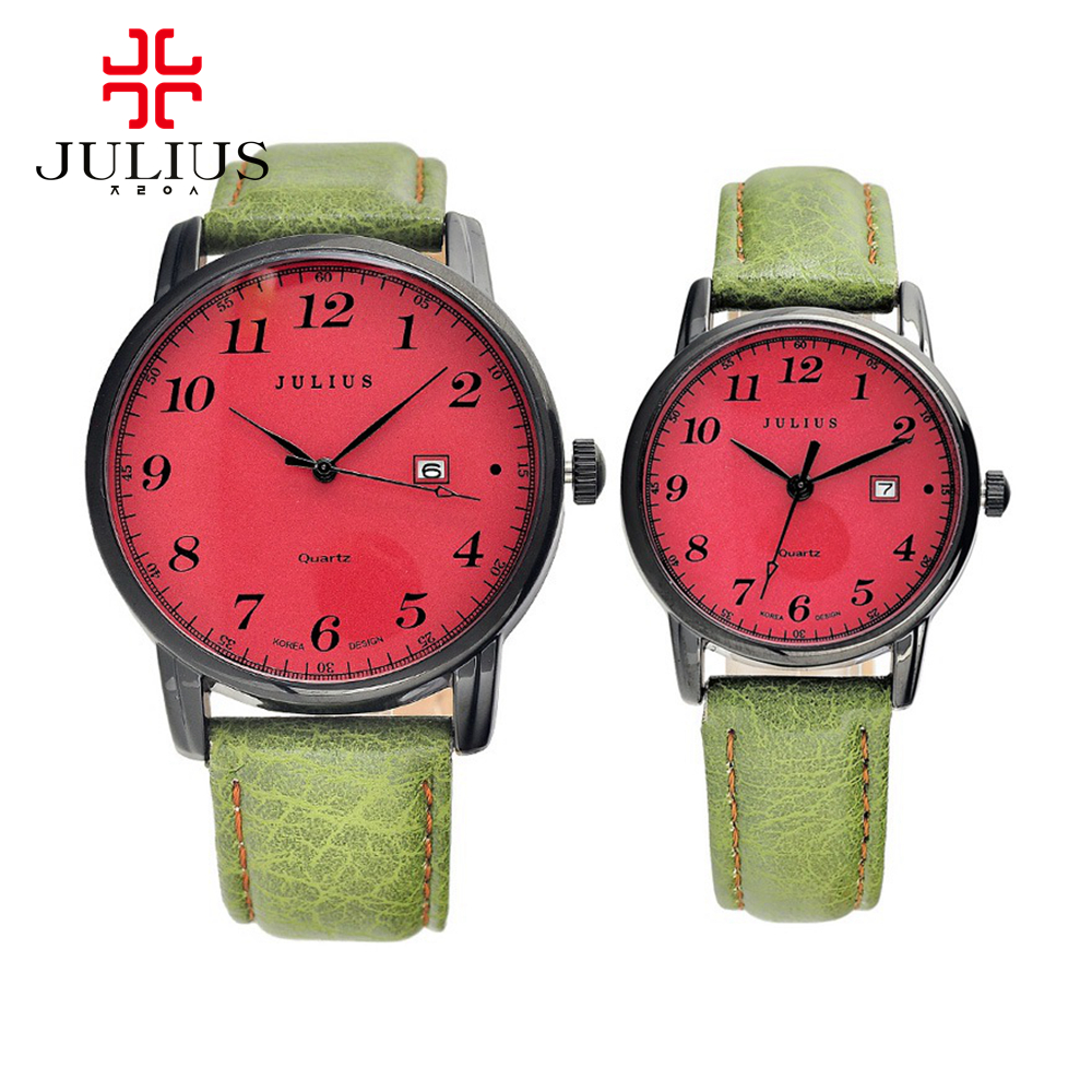 Best lovers hot digital watches women men calendar fashion casual quartz wrist watch leather band Luxury brand Julius 508 clock