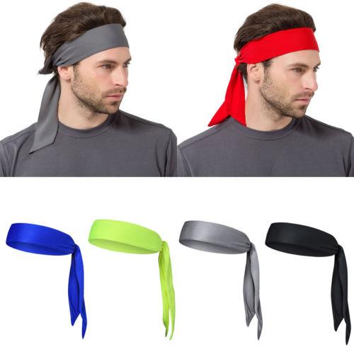 Fashion Outdoor Men Sweatband Sports Running Basketball Head Tie Tennis Headband Wrap Headwear Head Bands Bandanas beanie