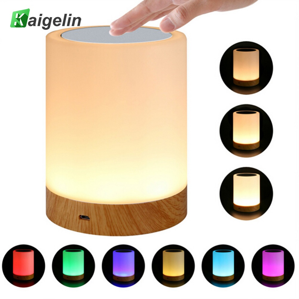 KAIGELIN 6 Colors Light-adjustable LED Colorful Rechargeble Little Nightlight Table Bedside Nursing Lamp Breathing Touch Light