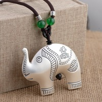 Deer King jewelry wholesale S99 Sterling Silver Heart Elephant Pendant Silver process antique style sweater chain