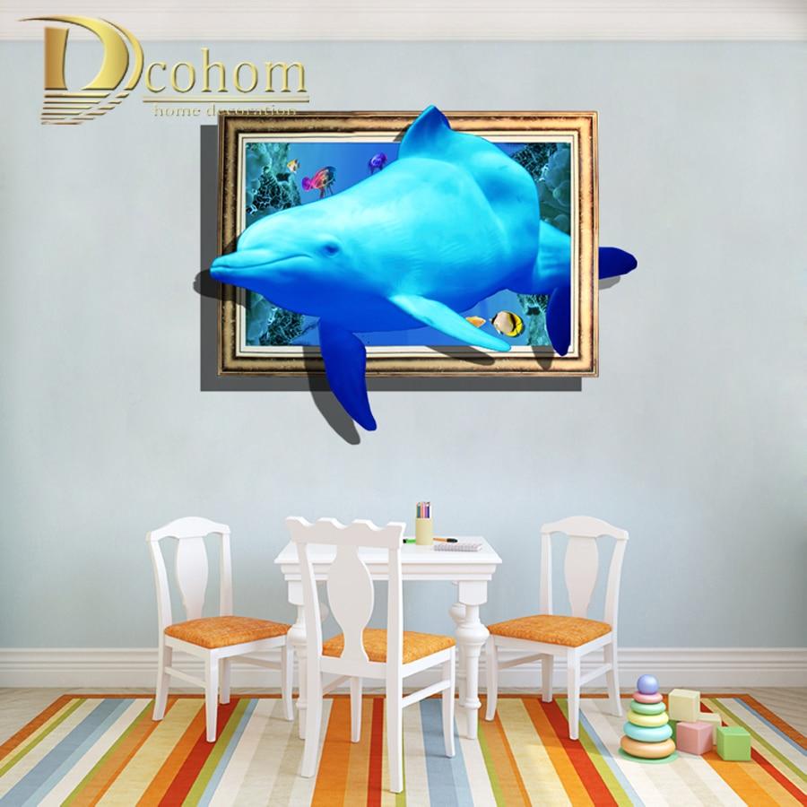 Awesome Break Photo Dolphin Cartoon 3D Wall Sticker Kids Room Bedroom Decoration  Art Mural Poster Vinyl Wallpaper