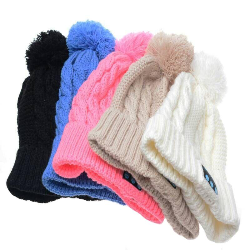 LNRRABC Women Men Sports Knitted Cap With Ball Bluetooth Headset Wireless Winter Knitted Hats Female Outdoor Skullies Beanies