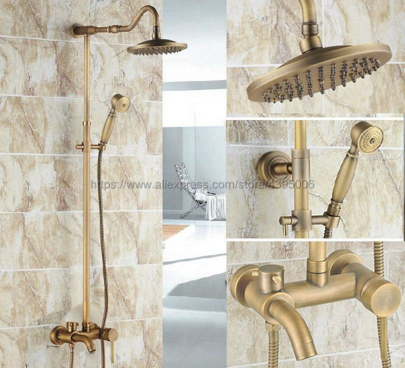 цена на Antique Brass Rain Shower Faucet Set Tub Spout Mixer Tap W/ Hand Shower Wall Mounted Shower Faucet Brs225