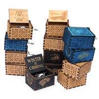 Manivela caja de música de Juego de tronos antiguo de madera tallada cajas musicales Piratas del Caribe caja de musica