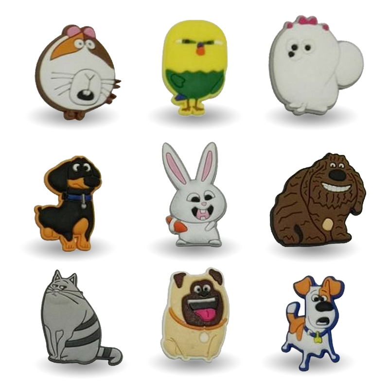 New 9pcs the secret life of pet decoration PVC Pins badges brooches collection DIY charms fit Clothes Bags shoes kid gift new 1pcs single the secret life of pet decoration pvc pins badges brooches collection diy charms fit clothes bags shoes kid gift