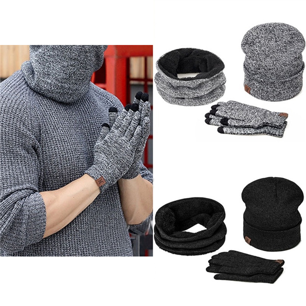 Women Men Scarf Hat Golves Set Winter Boy Girl Warm Keeping Neckerchief Beanie Full Hand Golves