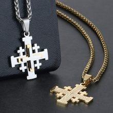 e57f99fbc37d De acero inoxidable de Jerusalén Cruz colgante collares para Mujeres Hombres  Santa Biblia cadenas collares religiosa