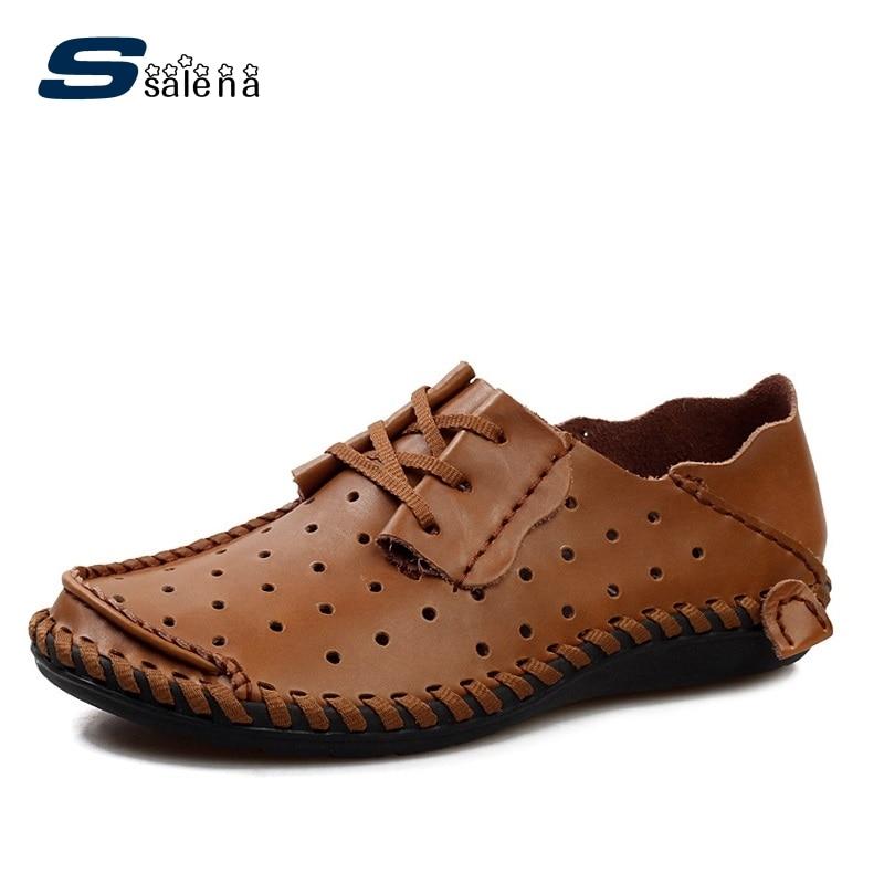 Hommes original unique commerce extérieur affaires chaussures de conduite décontractée en cuir souple cousu à la main en cuir respirant chaussures plates A290