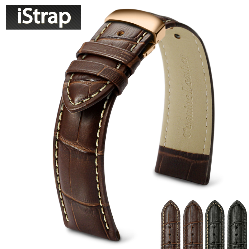 iStrap 18mm to 24mm Genuine Leather Watch Band <font><b>Straps</b></font> for IWC Hamilton Omega Casio <font><b>Breitling</b></font> Tudor Watchband Flight Pilot Hour image