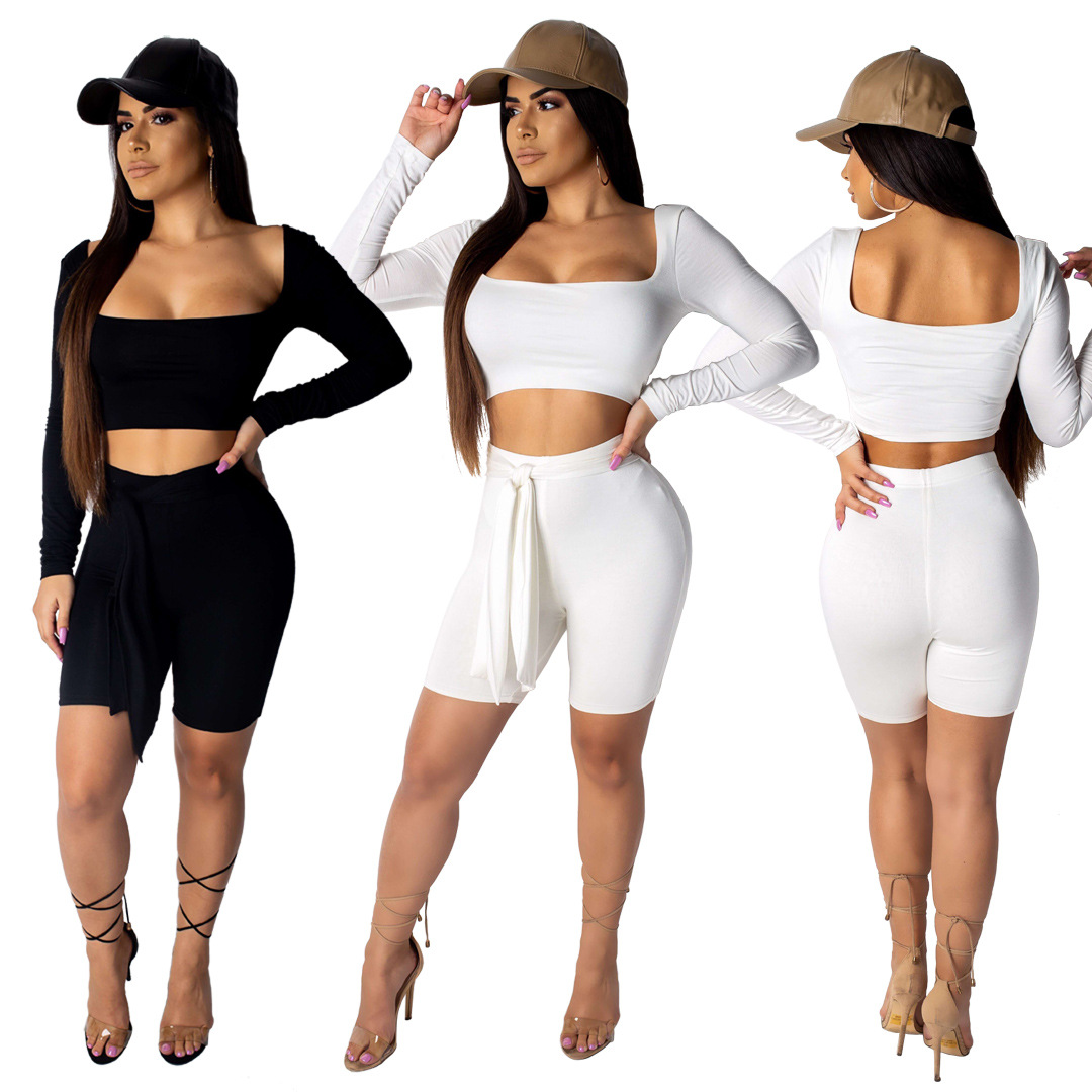 2019 Women Long Sleeve Crop Top Knee Length Skinny Pants Bodycon Sexy Two Piece Beach Holiday Tracksuit Outfit Set 2 Color YS255