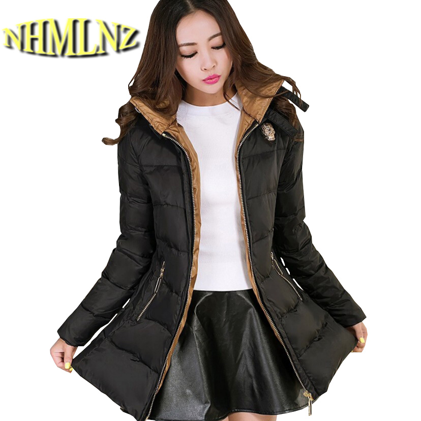 Women Fashion New Winter Coat Elegant Slim Big yards Loose Medium long Down jacket Hooded Thickening Warm Women Coat G1938 цена
