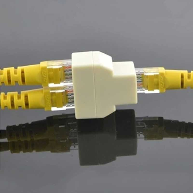 RJ45 CAT5 CAT5E Jaringan Ethernet 1to2 Konektor Adaptor Nov2-A
