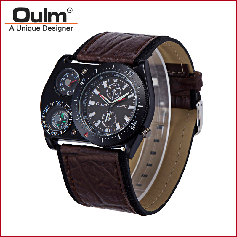 Luxury Timepiece Wrist Watch Men Quartz Military Leather Sports Decoration Compass Thermometer Voyager Russia Clock