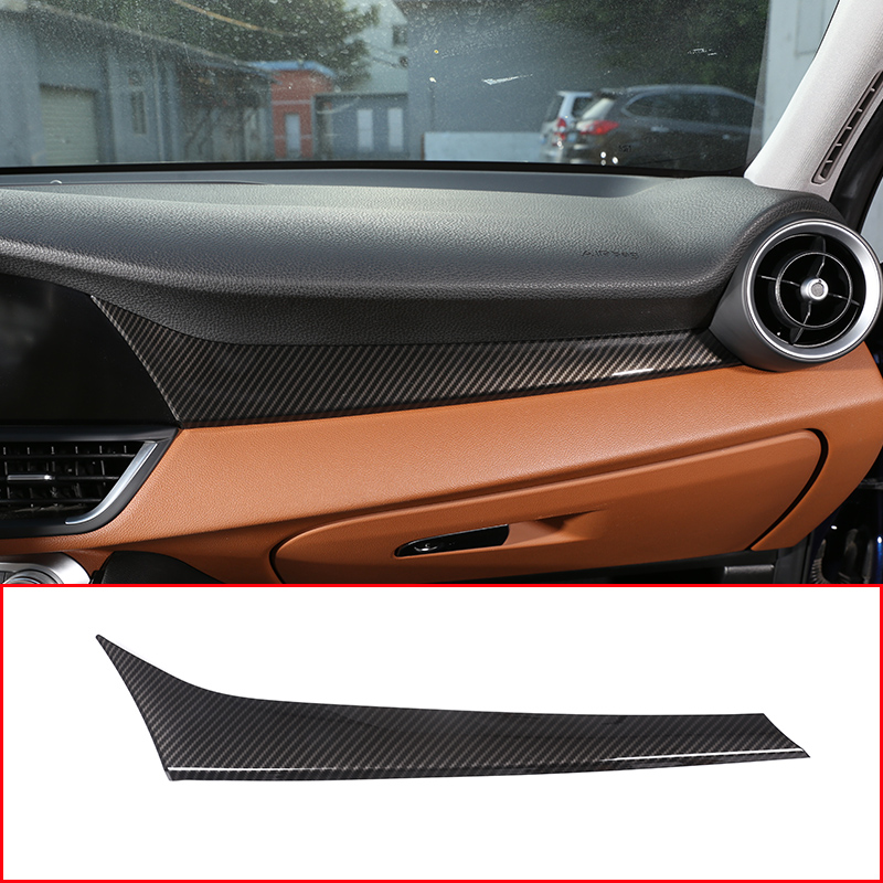 Carbon Fiber Style For Alfa Romeo Giulia 2017 2018 ABS Plastic Co Pilot Decoration Cover Panel