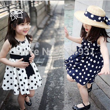 2014 Children Clothing 311age Navy White Polka Dot Summer Dress Vintage Baby Girls Dresses Teenage Child Clothes In From Mother Kids On