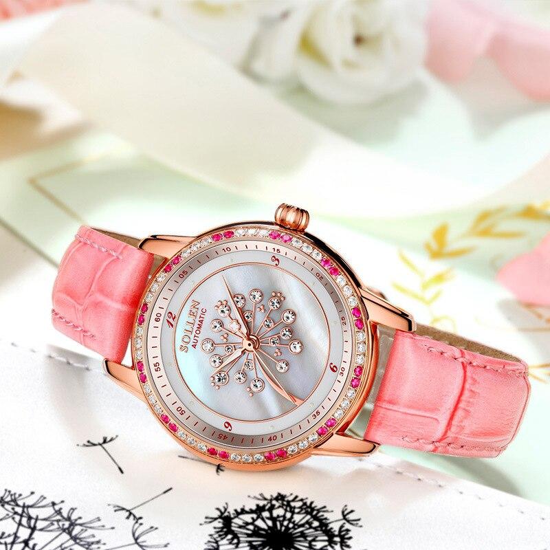 SOLLEN Moda Mulheres Relógios de Cristal de Safira À Prova D' Água Relógio Das Mulheres Senhoras Pulseira de Couro Relógio de Quartzo Top Marca de Luxo Rosa