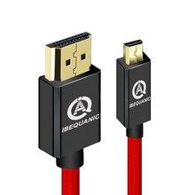 Câble Micro HDMI vers HDMI, câble HDMI vers Micro HDMI haute vitesse 1m 2m 3m prise en charge du retour Ethernet, 3D, 4K et Audio