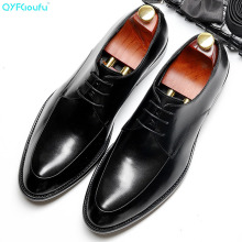 где купить QYFCIOUFU 2019 Italian Men Wedding Black Wine Red Lace Up Oxford Shoes Genuine Leather Party Business Mens Brown Dress Shoes по лучшей цене