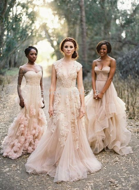 Blush Wedding Dresses 2017 A Line Lace Gowns Y Vintage Country Garden Dress