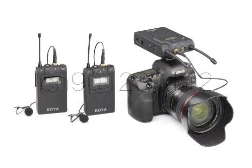 BOYA BY WM8 UHF Dual Беспроводной петличный микрофон Systerm Lav интервью Mic 2 Передатчики 1 приемник для DSLR видео Камера DC