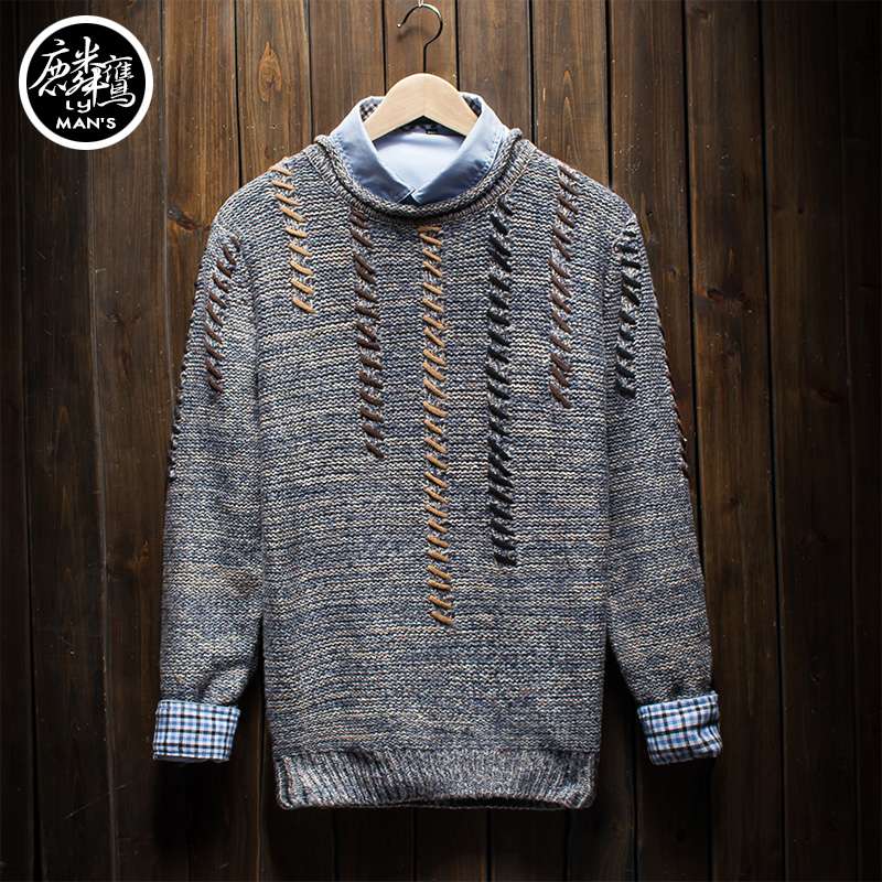 Autumn solid color male slim o-neck sweater pullover casual sweater outerwear men's clothing top