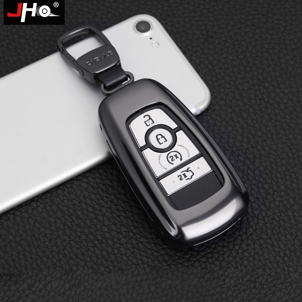 JHO Metal Remote Key Fob Cover Case Smart Key Shell For Ford Explorer F150 Mustang EDGE